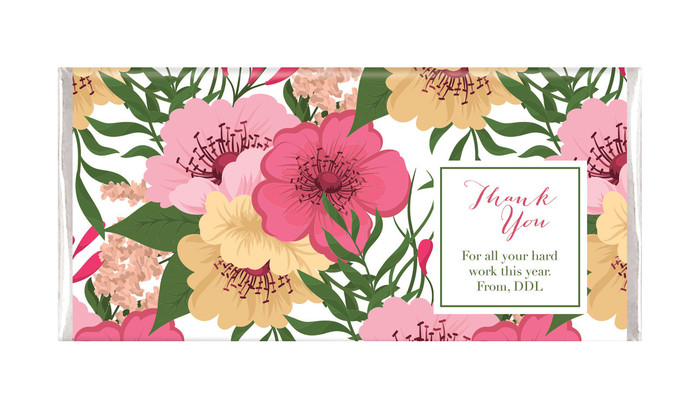 Spring Flowers Thank You Personalised Chocolate Bar