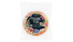 Floral Border On Black Thank You Chocolate Freckle
