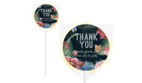 Floral Border On Black Custom Thank You Lollipop