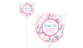 Fresh Floral Personalised Thank You Lollipop