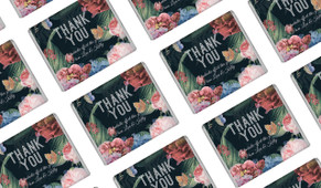 Floral Border On Black Custom Thank You Mini Chocolate