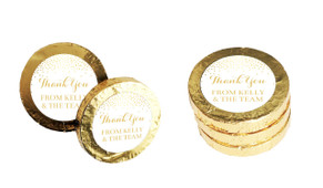 Gold Confetti Personalised Thank You Chocolate Coins