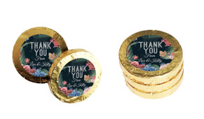 Floral Border On Black Personalised Thank You Chocolate Coins