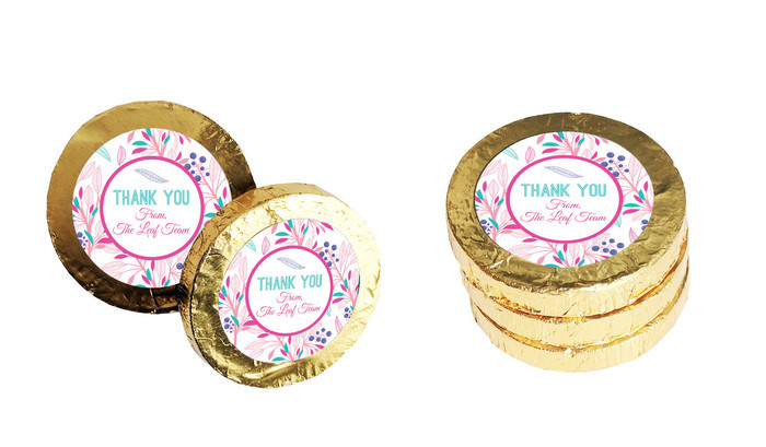 Fresh Floral Personalised Thank You Chocolate Coins