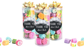 Confetti In Silver Thank You Custom Rock Candy Tube
