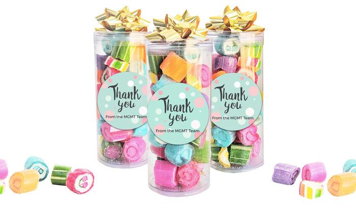 Dots Thank You Custom Rock Candy Tube