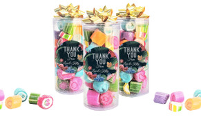 Floral Border On Black Thank You Custom Rock Candy Tube