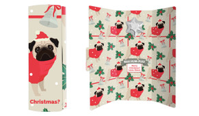 Bah Hum-Pug Christmas Chocolate Greeting Card