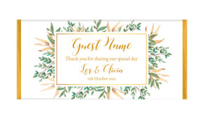 Leaves On Gold Personalised Wedding Chocolate Bars