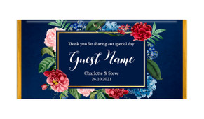 Floral Frame On Navy Personalised Wedding Chocolate Bars