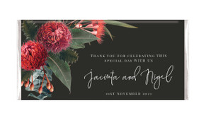 Wildflowers Dark Personalised Wedding Chocolate Bars