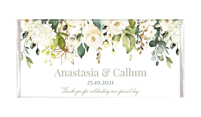 White Roses Hanging Personalised Wedding Chocolate Bars