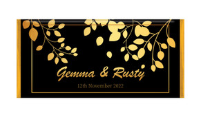 Gold Leaves Personalised Wedding Chocolate Bars