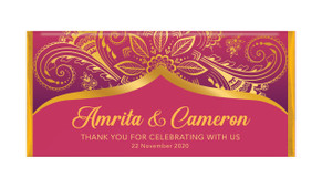 Regal Pink And Gold Personalised Wedding Chocolate Bars