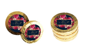 Bold Floral Personalised Wedding Chocolate Coins