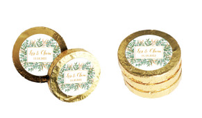 Leaves On Gold Personalised Wedding Chocolate Coins