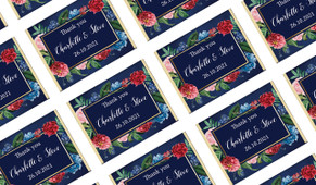 Floral Frame on Navy Personalised Mini Chocolates