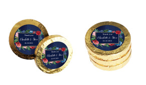 Floral Frame On Navy  Personalised Wedding Chocolate Coins