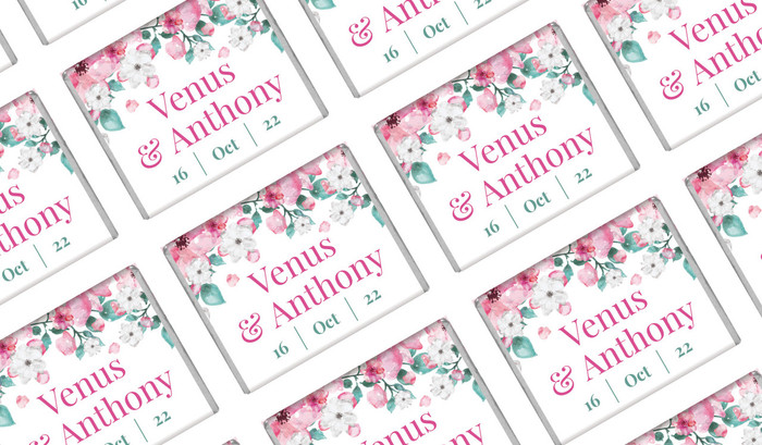 Falling Petals Personalised Mini Chocolates