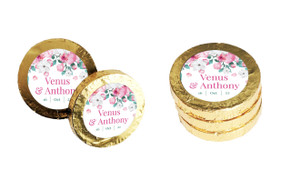 Falling Petals Custom Wedding Chocolate Coins
