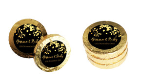 Gold Leaves Custom Wedding Chocolate Coins