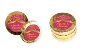 Regal Pink On Gold Custom Wedding Chocolate Coins