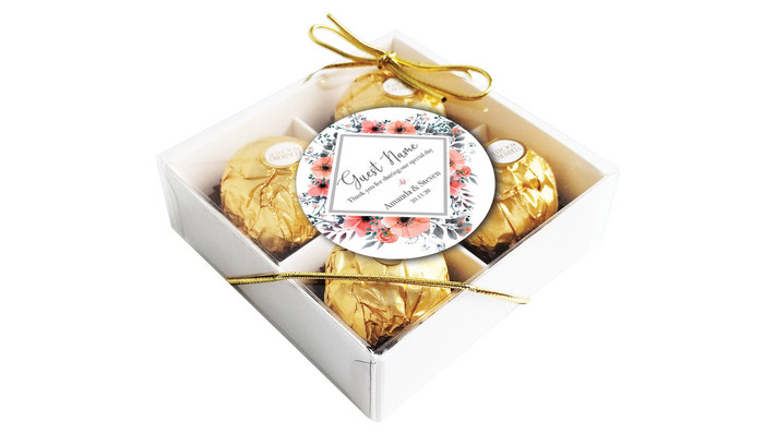 Perspective view - Coral Flowers Personalised Ferrero Rocher Gift Box
