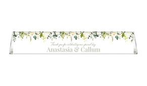 White Hanging Roses Toblerone Wedding Personalised Chocolates