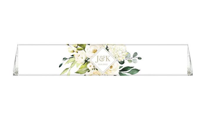 Diamond On White Roses Wedding Personalised Toblerone Bar
