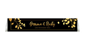 Gold Leaves Wedding Personalised Toblerone Bar