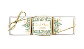 Leaves On Gold Custom Mini Chocolate Trio Wedding Favour