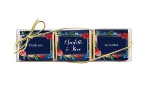 Floral Frame On Navy Custom Mini Chocolate Trio Wedding Favour