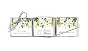 White Roses Hanging Custom Mini Chocolate Trio Wedding Favour