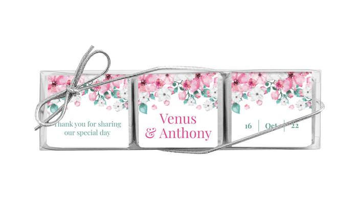 Falling Petals Personalised Mini Chocolate Trio Wedding Favour