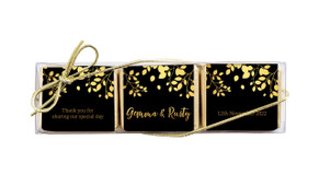 Gold Leaves Personalised Mini Chocolate Trio Wedding Favour