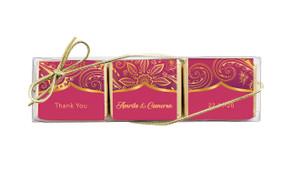 Regal Pink And Gold Custom Mini Chocolate Trio Wedding Favour