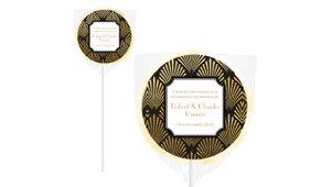 Art Deco Personalised Wedding Lollipops