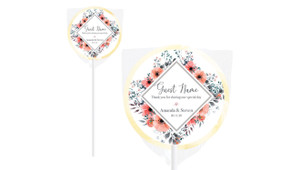 Coral Flowers Personalised Wedding Lollipops