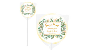 Leaves On Gold Personalised Wedding Lollipops