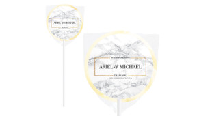 Marble Gold Frame Personalised Wedding Lollipops
