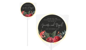 Wild Flowers Dark Personalised Wedding Lollipops