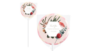 Wild Flowers Light Personalised Wedding Lollipops