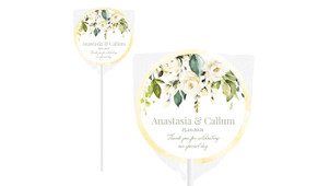 White Roses Hanging Personalised Wedding Lollipops