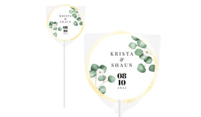 Eucalyptus Personalised Wedding Lollipops