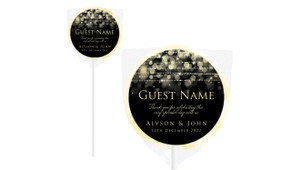 Gold Lights Personalised Wedding Lollipops