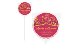Regal Pink And Gold Personalised Wedding Lollipops