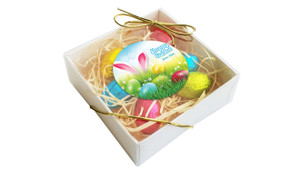 Perspective View - Bunny In The Meadow Personalised Easter Egg Nest Box