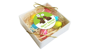 Perspective View - Chocolate Bunnies Personalised Easter Egg Nest Box