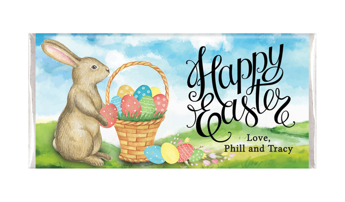 Bunny And Basket Personalised Easter Chocolates