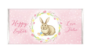 Pink Floral Bunny Personalised Easter Chocolate Bars
